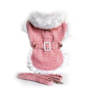 Pink Houndstooth White Fur Collar Harness Coat