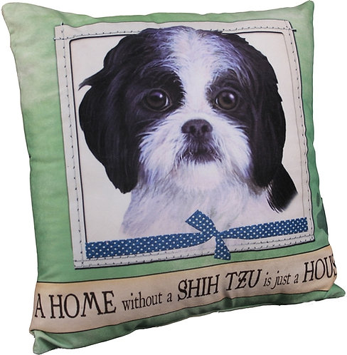 Plush Pillow - Shih Tzu (Black/White/Puppy Cut)