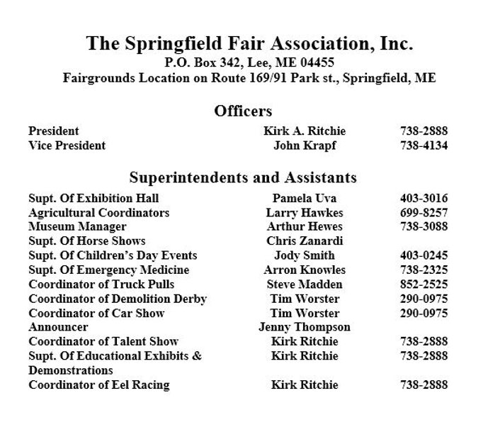Superintendents and event directors phone numbers contact information springfield maine