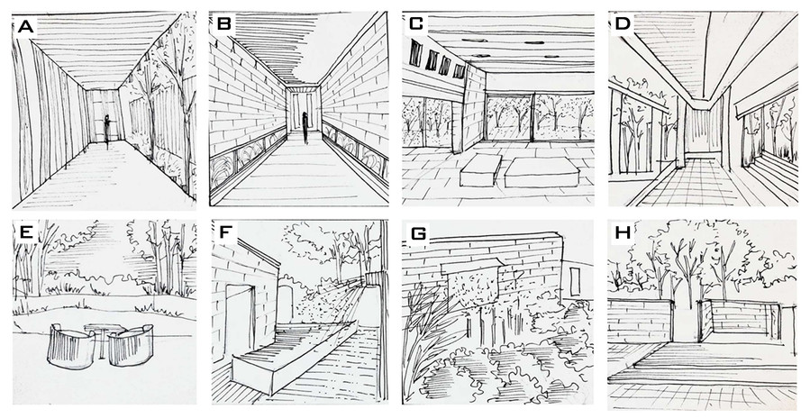 This passage highlights on creating a primary focus with trees acting as buffer zones Walkways leading to interconnection of many such pathways, smooth transitioning and glass as a curiosity element  The interior of the house brings out the exterior softscape through glass panelling, seeming to be a place of heavenly abode Open ended walkways leading to hidden spaces and more buffer zones, creates trails on site Informal seating spaces capture the view of entire sphere of surroundings Walkways connecting to water jets creating mists offer unique experience for a person cruising and also serve its usage Through the contoured land the standing out of the built with softscape and water jets creating soothingness Entrance and exit points are subtle, humble and merge with surroundings welcoming a user