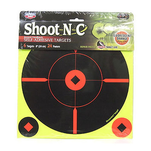 Shoot N C - 8 Inch Crosshair Target 6 Pack Birchwood Casey 34806