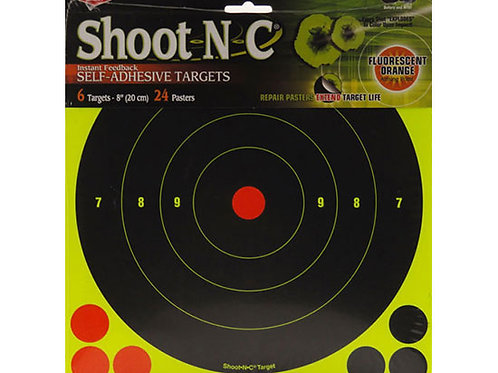 Shoot N C - 8 Inch Bullseye Target 6 Pack Birchwood Casey 34805