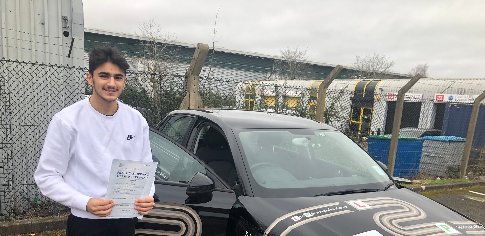 Liphook driving lesson student Caelan passes in Guildford