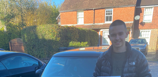 Haslemere driving school student Toby passes driving test first time