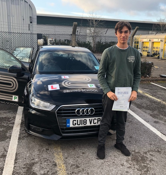 Hindhead driving school student Max Mendoza passes first time