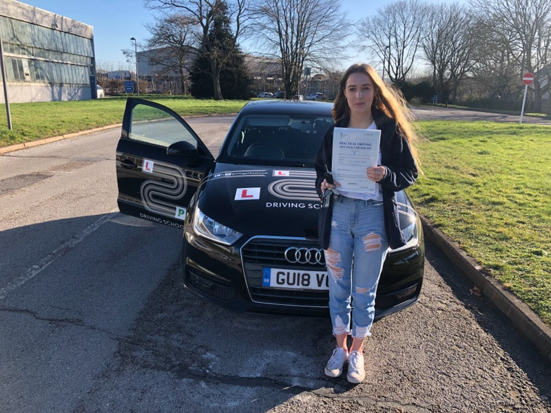 Charlotte Stevenson, one of our driving students from Grayshott driving school passes with only three driving faults