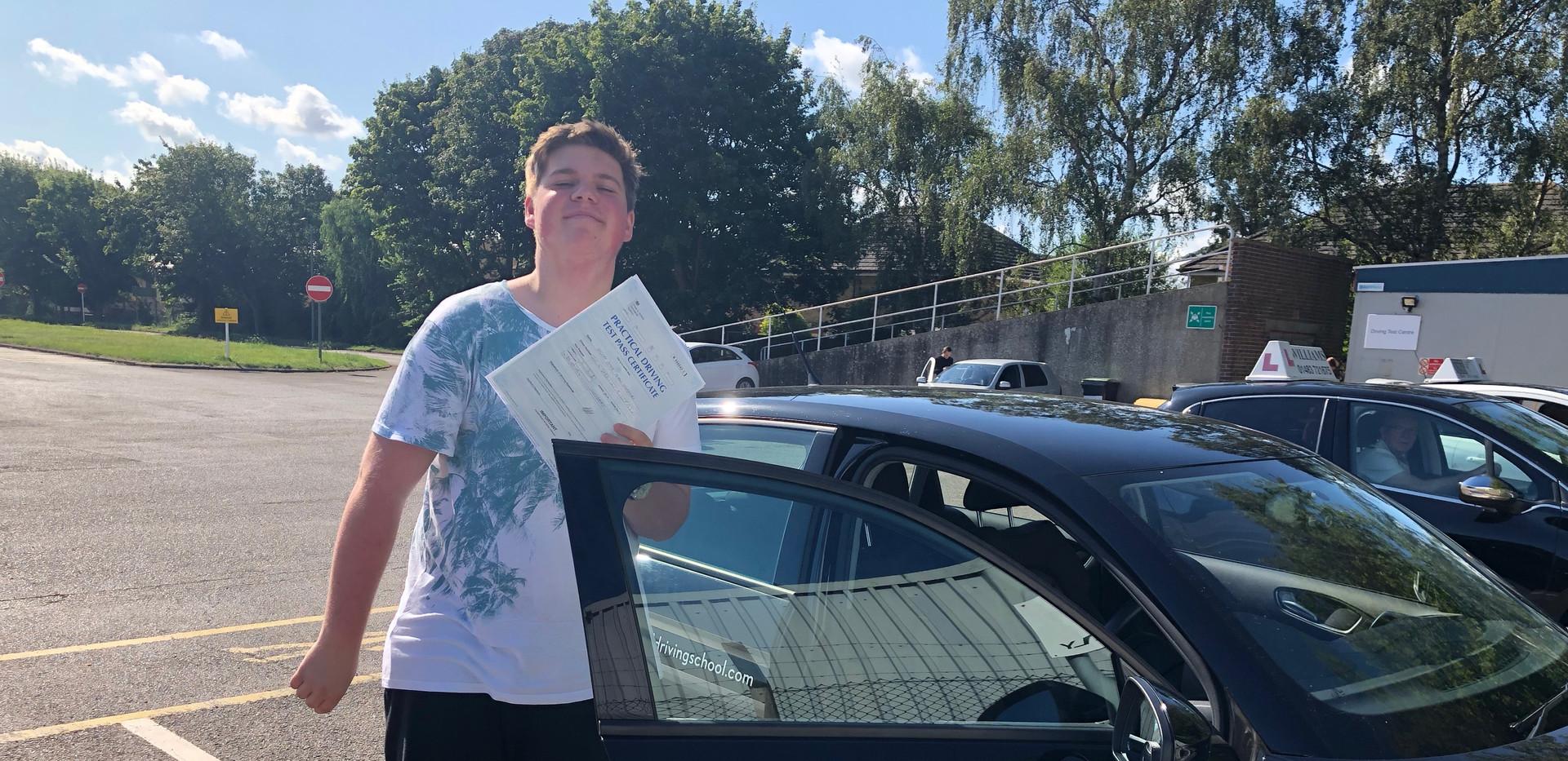 Joe Gladman, Headley Driving School student passes first time