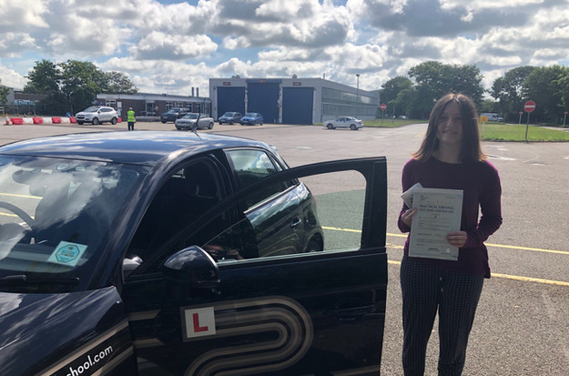 Evie Mitchell, Chiddingfold driving school student of L to P Driving School, passes her driving test