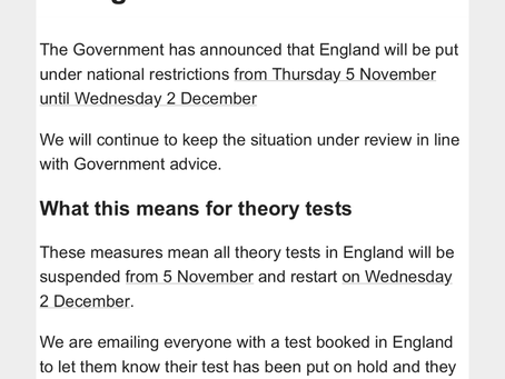 Theory tests cancelled through lockdown 2.0