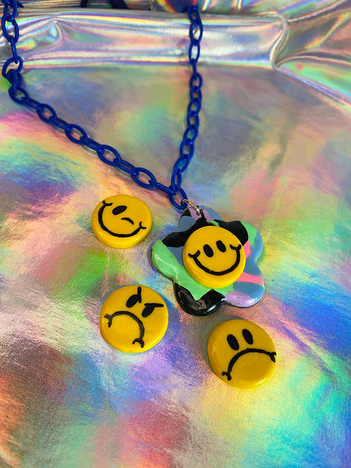 Neon Brights Necklace (on royal blue chain)