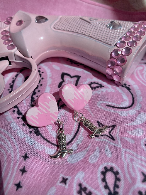 Pink Gingham Heart Studs w/ cowgirl boots