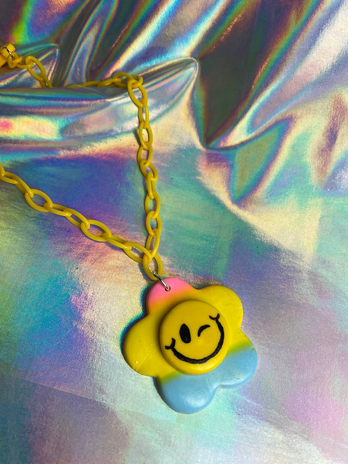 Rainbow Gradient Necklace (on yellow chain)