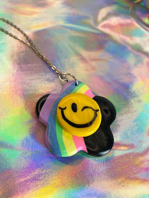 Dark Rainbow Necklace (silver chain)