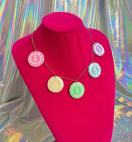 Lady Luck's Rainbow Poker Chip Necklace