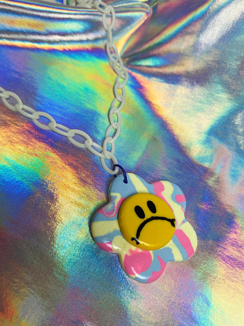 Carnival Swirl Necklace (on white chain)