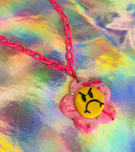 Candy Pink Swirl Necklace (on hot pink chain)