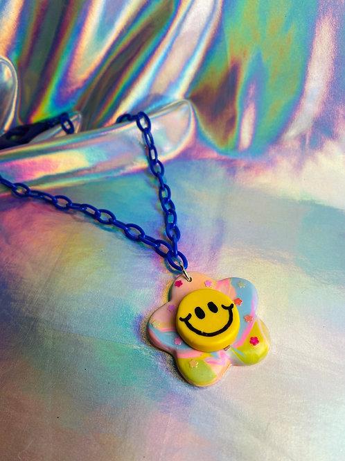 TyeDye Swirl Necklace (on Royal Blue Chain)