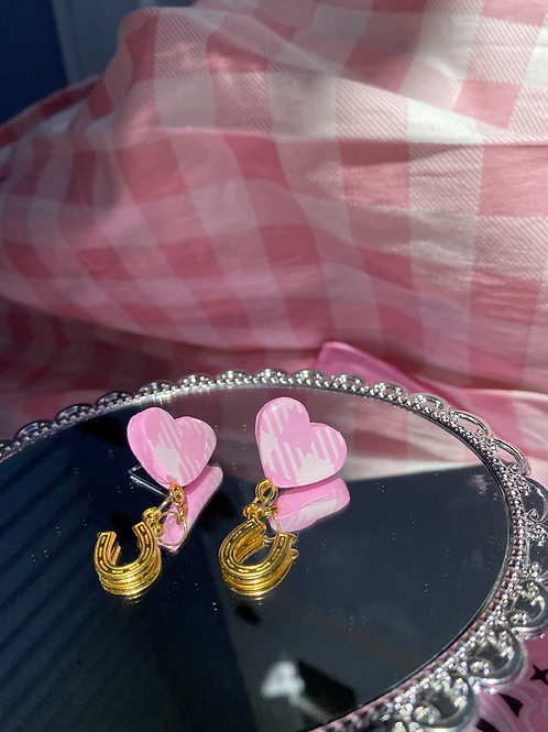 Pink Gingham Heart Studs w/ gold horseshoe
