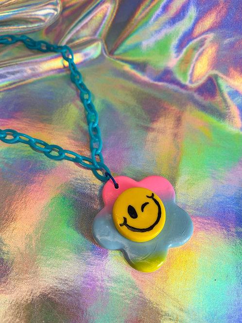 Rainbow Gradient Necklace (on light blue chain)
