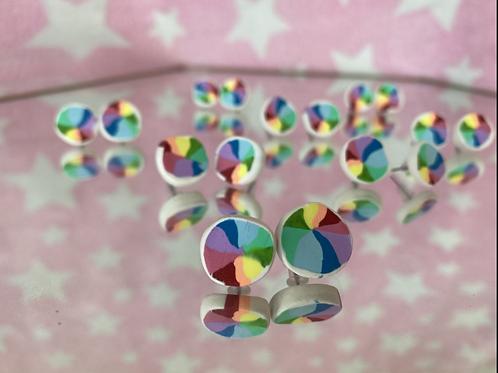 Rainbow Pinwheel Studs