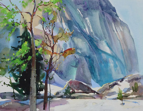 multi-colour watercolour painting titled SOLD-Bugaboo Summit by artist zoe evamy