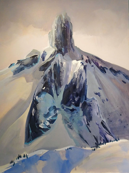 multi-colour arcylic painting titled SOLD-Black Tusk by artist zoe evamy