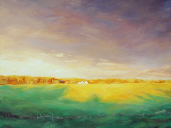 multi-colour oil painting titled SOLD 'Sunscape' by artist michael downs