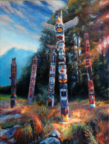 multi-colour oil painting titled SOLD Five Totems by artist michael downs
