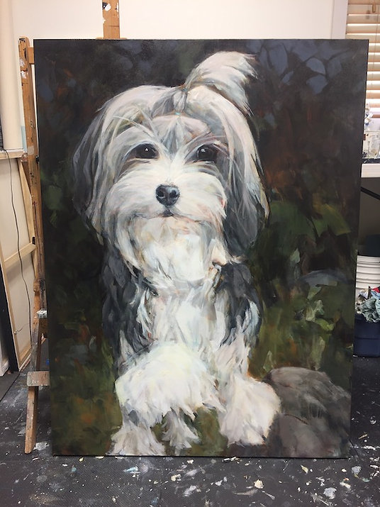 multi-colour acrylic painting titled Queen Phoebe of Lowchenstein by artist andrea moore.