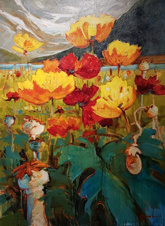 multi-colour acrylic painting titled Icelandic Poppies at Lake Louise by artist gail johnson.