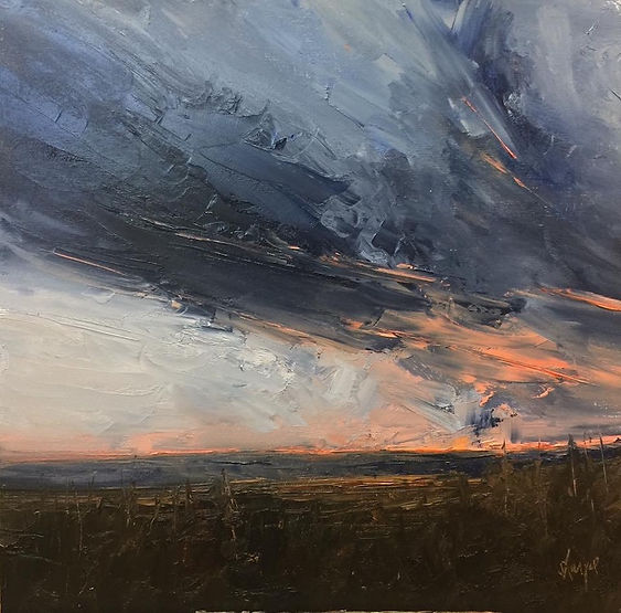 multi-colour oil painting titled Foothills Twilight by artist david sharpe.