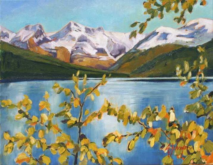 multi-colour oil painting titled Aspen Shores, Maligne Lake by artist gail johnson.