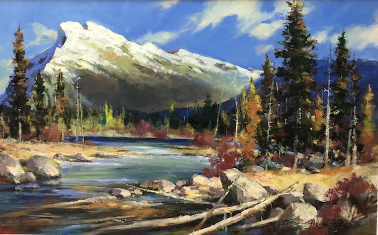 multi-colour oil painting titled A View to Rundle by artist brent heighton.