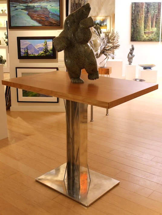 Beam end and chrome table titled Beam End Bar by aviation furniture designer arnt arntzen