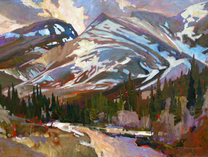 multi-colour arcylic painting titled Spring Rhythms-Rockies by artist brian atyeo
