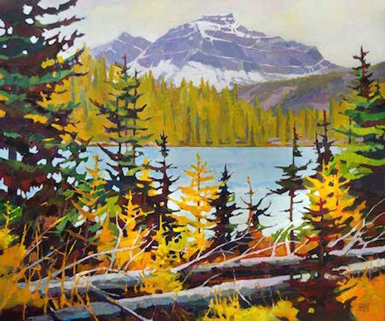 multi-colour arcylic painting titled Larch on Larix Lake by artist randy hayashi.