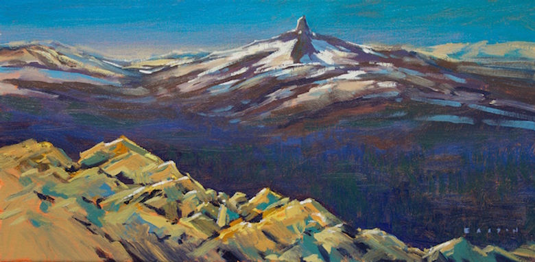 multi-colour arcylic painting titled View From The Peak by artist charlie easton