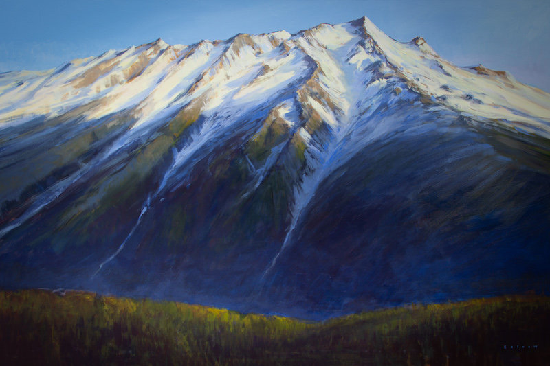 multi-colour arcylic painting titled Mount Currie from the Valley by artist charlie easton