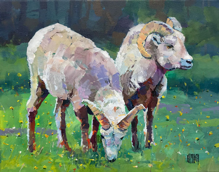 multi-colour arcylic painting titled SOLD-Bighorns by artist randy hayashi.