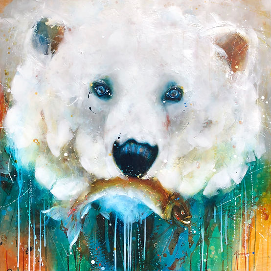Multi-colour arcylic painting of a bear titled SOLD- Sushi Takeout  by artist fran alexander