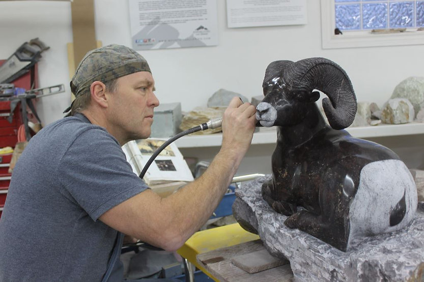 soapstone scupture titled Hinz_Studio by sculptor roy hinz.