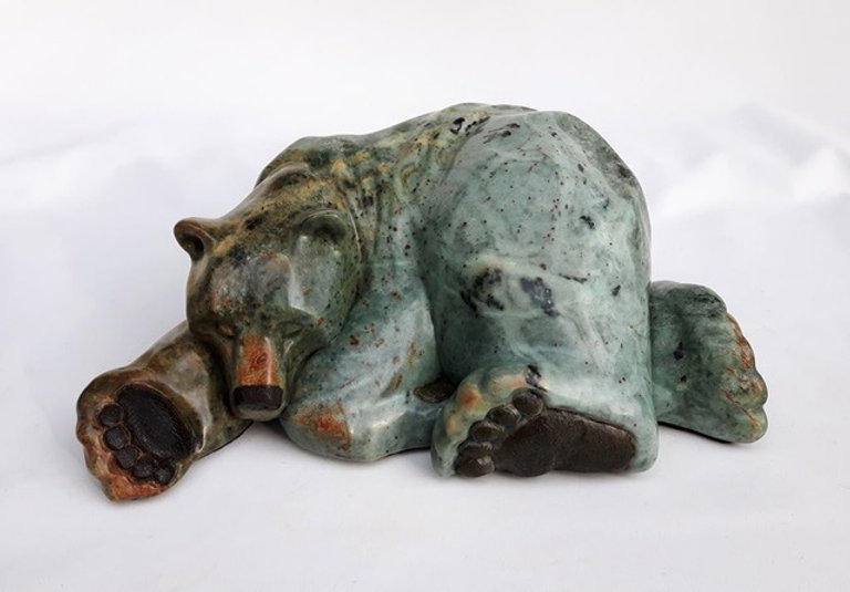 brazilian soapstone scupture titled SOLD Snooze by sculptor roy hinz.
