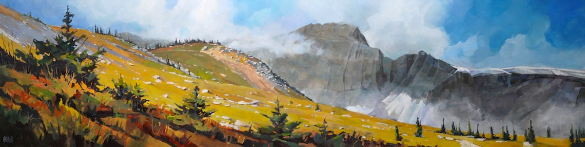 multi-colour arcylic painting titled Mount Macoun by artist randy hayashi.