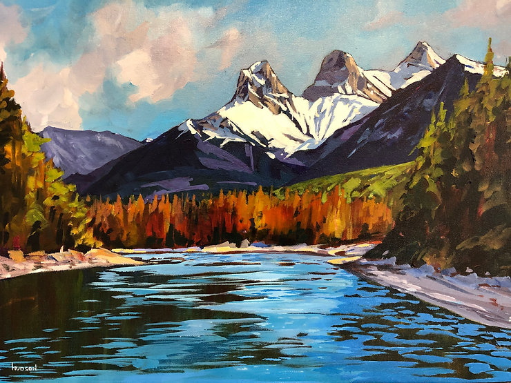 multi-colour acrylic painting titled Three Sisters with the Bow River by artist phillipa hudson.