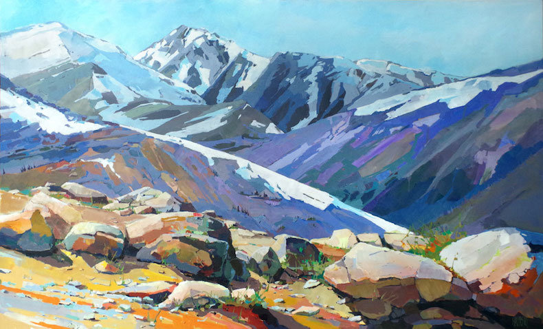 multi-colour arcylic painting titled Rocks and Ridges by artist randy hayashi.