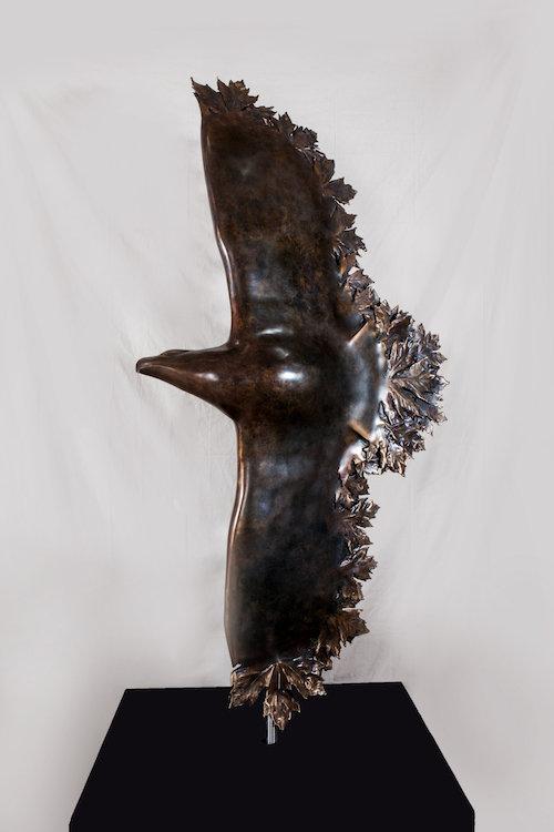 bronze sculpture titled Bronze Eagle-1 by sculptor cathryn jenkins.