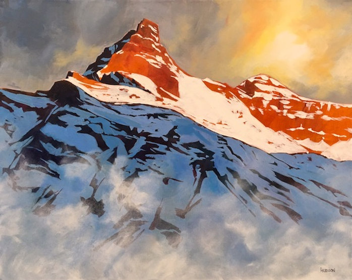 multi-colour acrylic painting titled Cathedral Mountain in Yoho National Park by artist phillipa hudson.