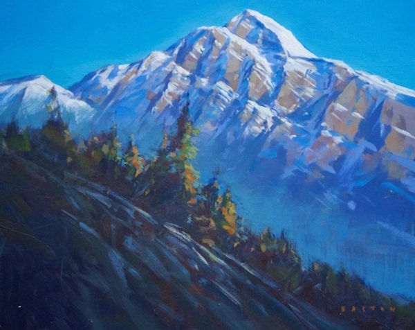 multi-colour arcylic painting titled Pyramid Mountain at Dawn by artist charlie easton