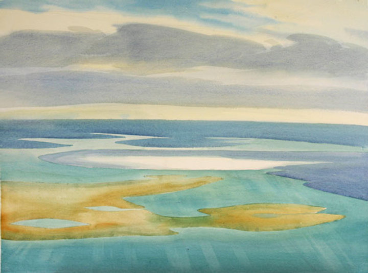 multi-colour watercolour painting titled SOLD- Untitled Landscape 1983 by artist doris mccarthy.