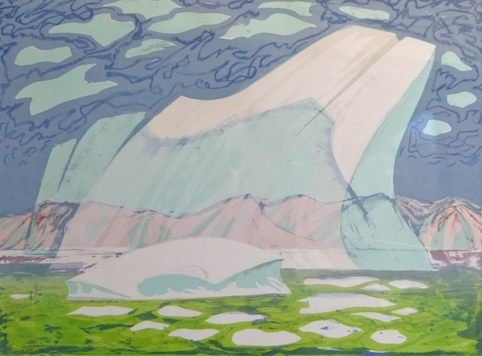 multi-colour hand pulled litho painting titled Iceberg Fantasy by artist doris mccarthy.